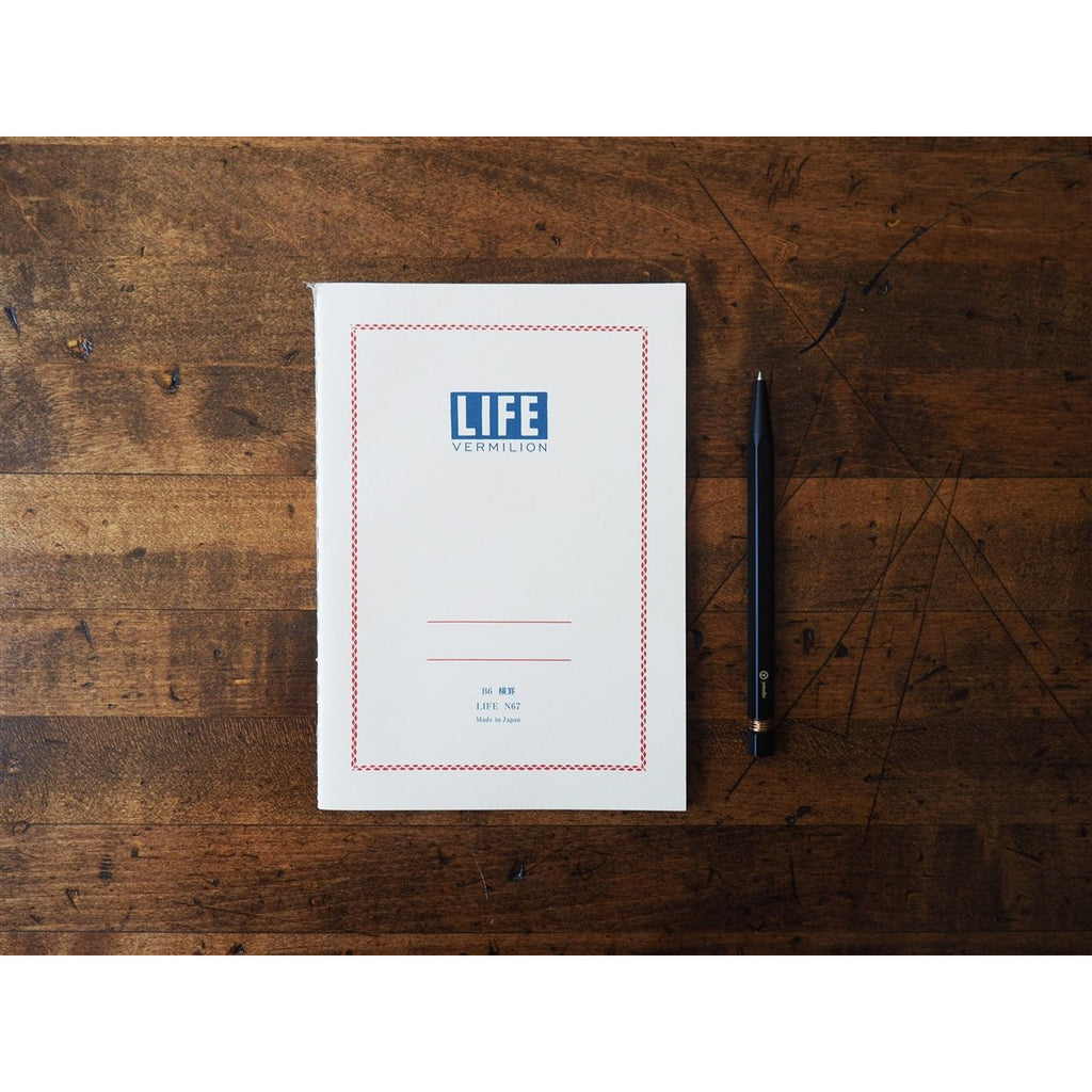 <center>Life Japanese Stationery Vermilion Notebook B6 - Ruled</center>