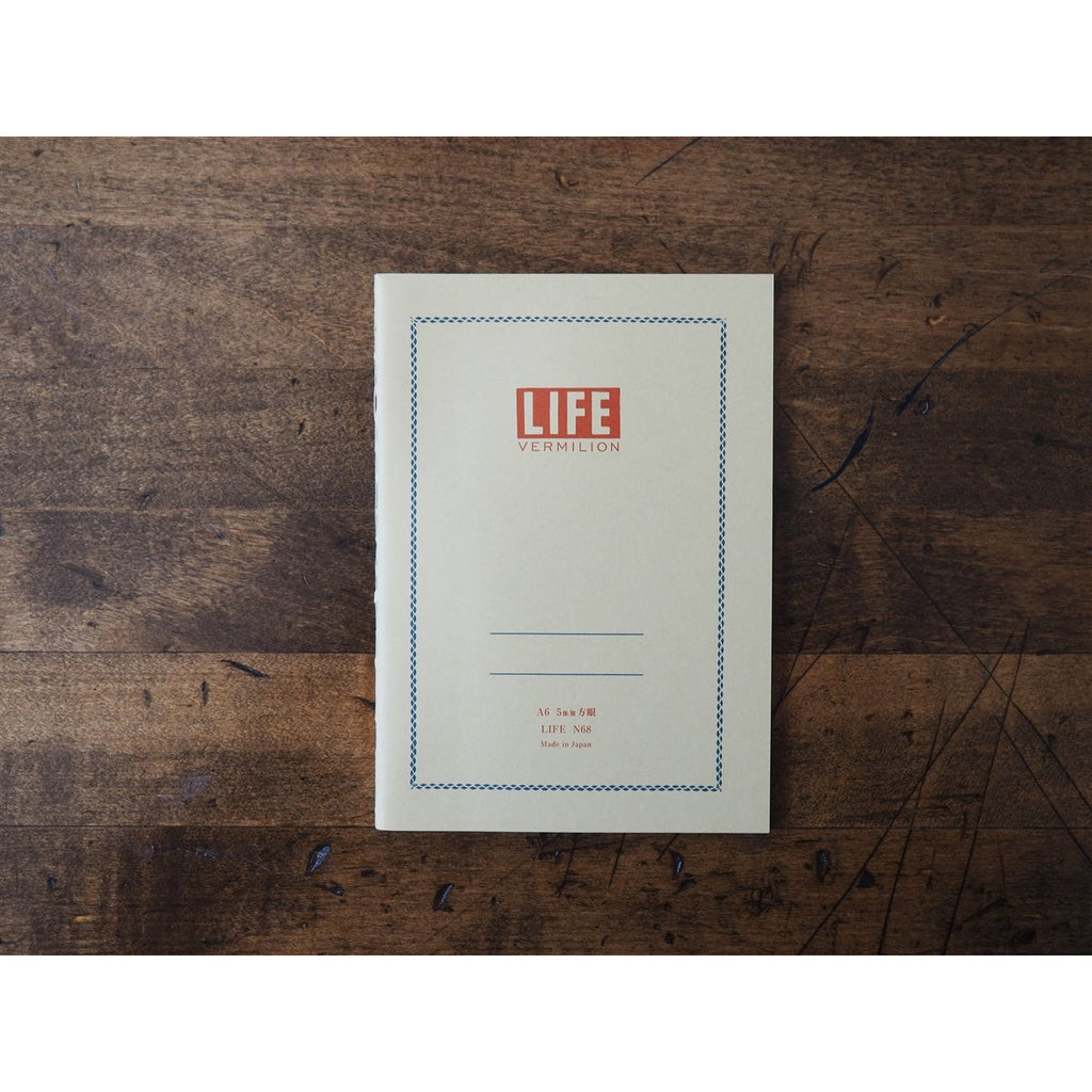<center>Life Japanese Stationery Vermilion Notebook A6 - Grid</center>