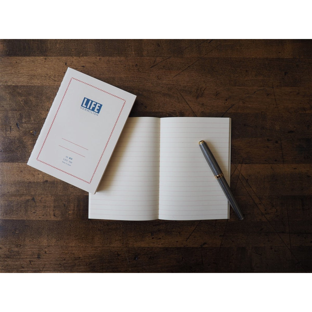 <center>Life Japanese Stationery Vermilion Notebook A6 - Ruled</center>