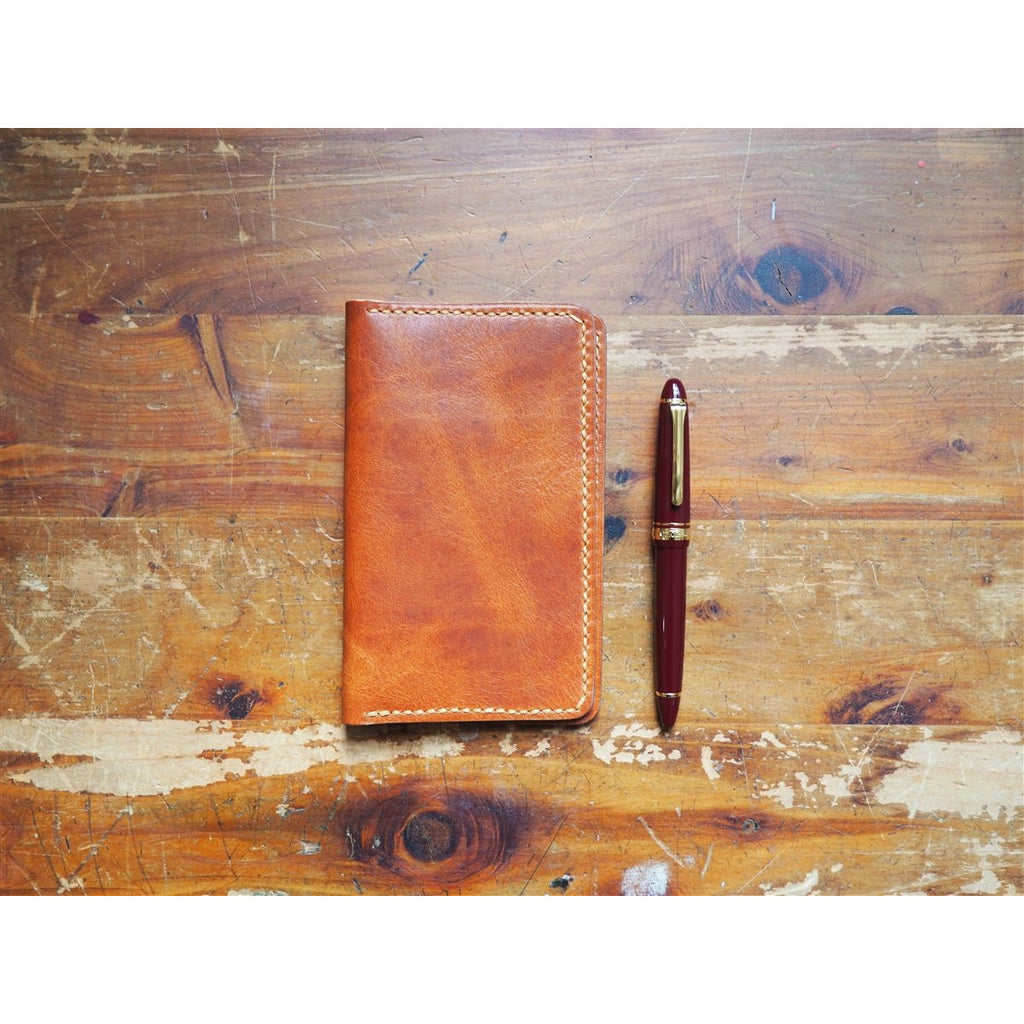 <center>Popov Leather Field Notes Cover with Pockets - English Tan Derby</center>