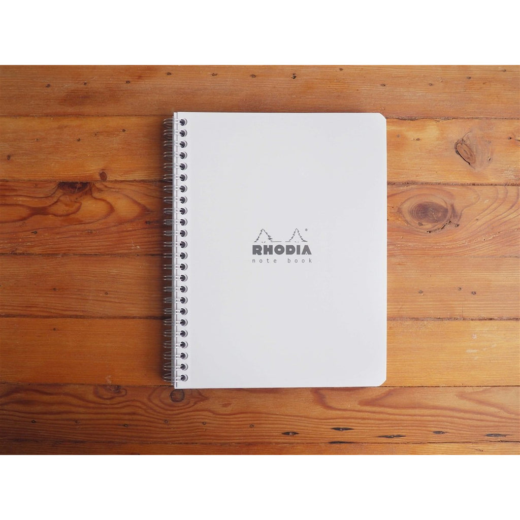 <center>Rhodia Classic Spiral Bound Notebook Lined - Ice White (16cm x 21cm)</center>