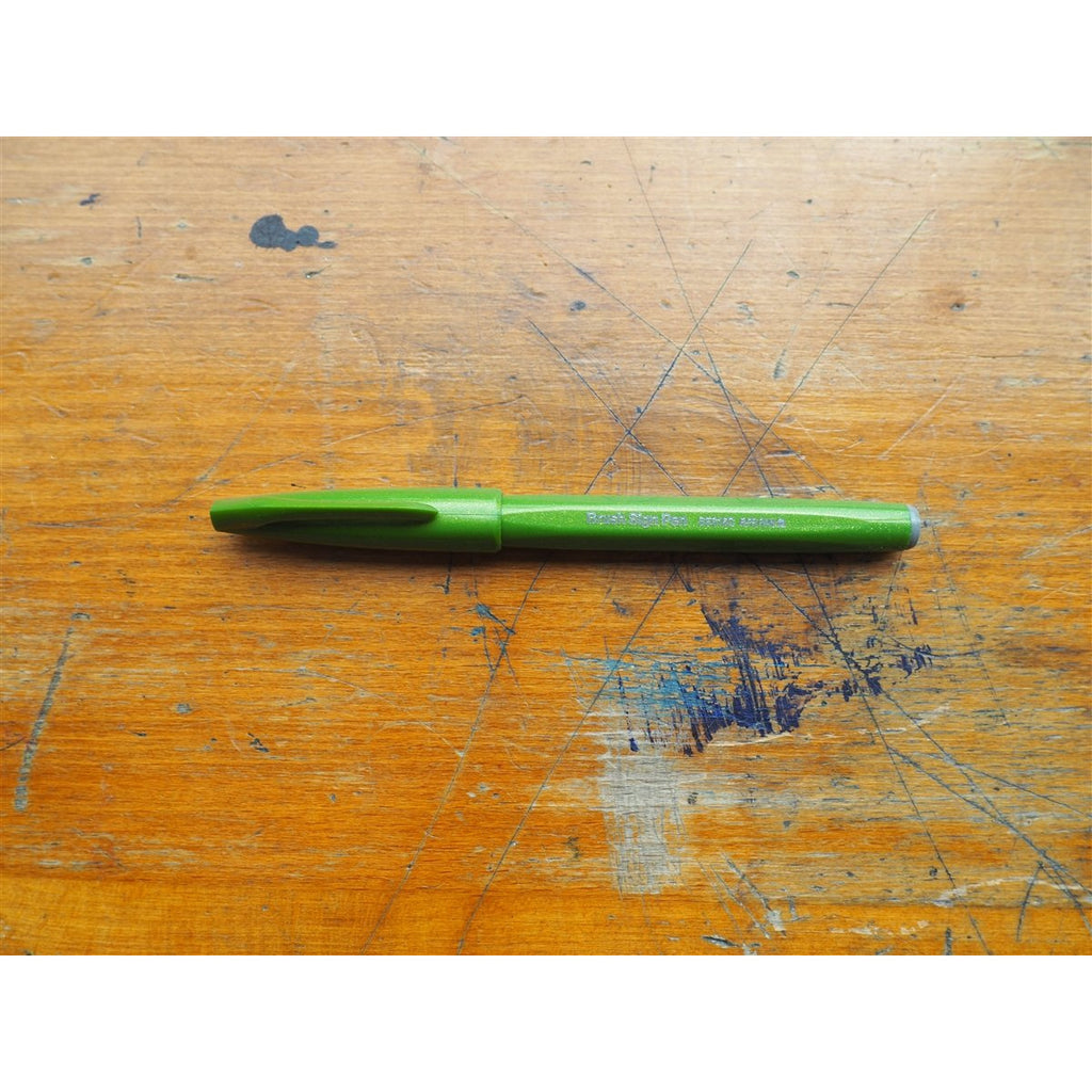 <center>Pentel Brush Sign Pen - Olive Green</center>
