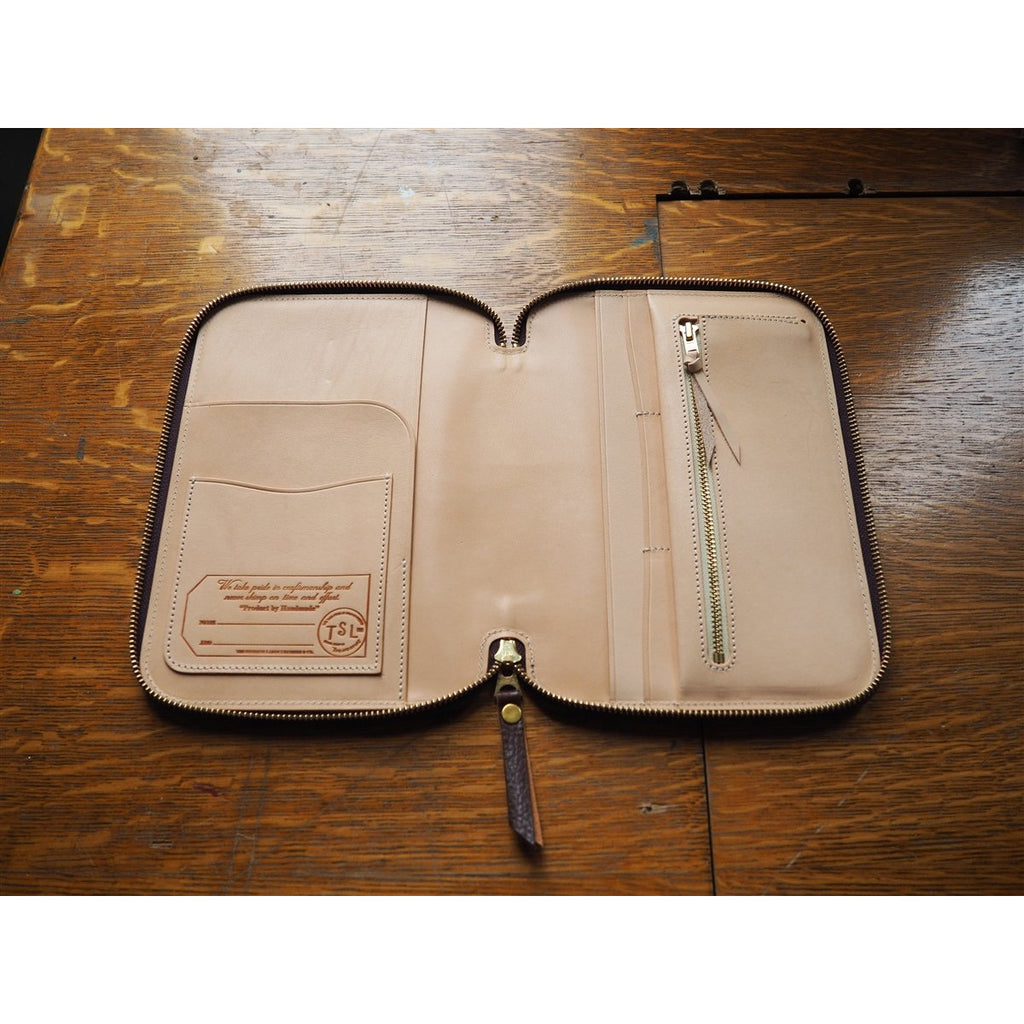 <center>The Superior Labor A5 Leather Zip Organizer - Brown</center>