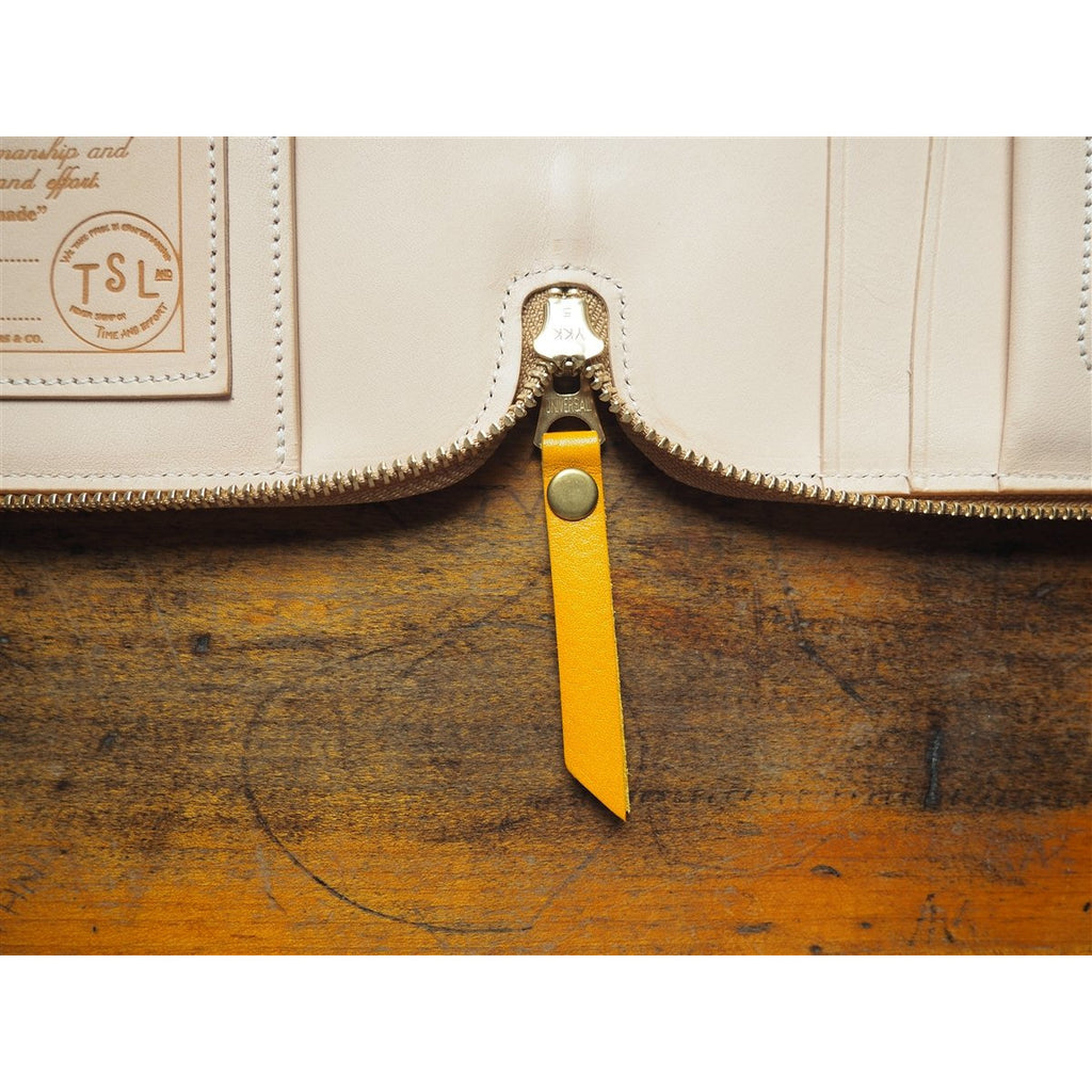 <center><b>PRE-ORDER</b> The Superior Labor A5 Leather Zip Organizer - Yellow</center>