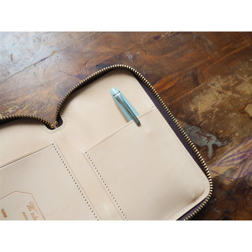 <center>The Superior Labor Leather Pen Zip Case -  Brown</center>