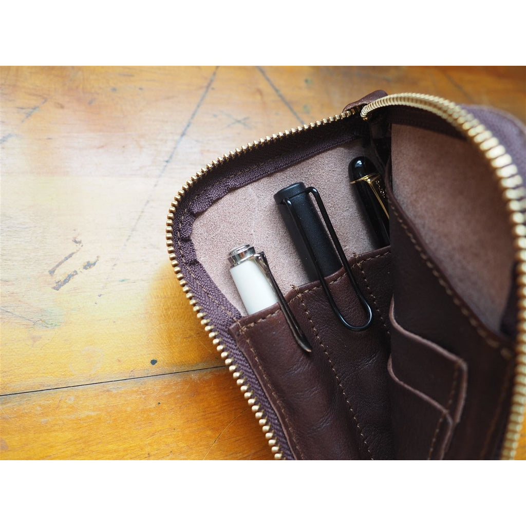 <center>The Superior Labor  Leather Pen and Wallet Case - Dark Brown</center>