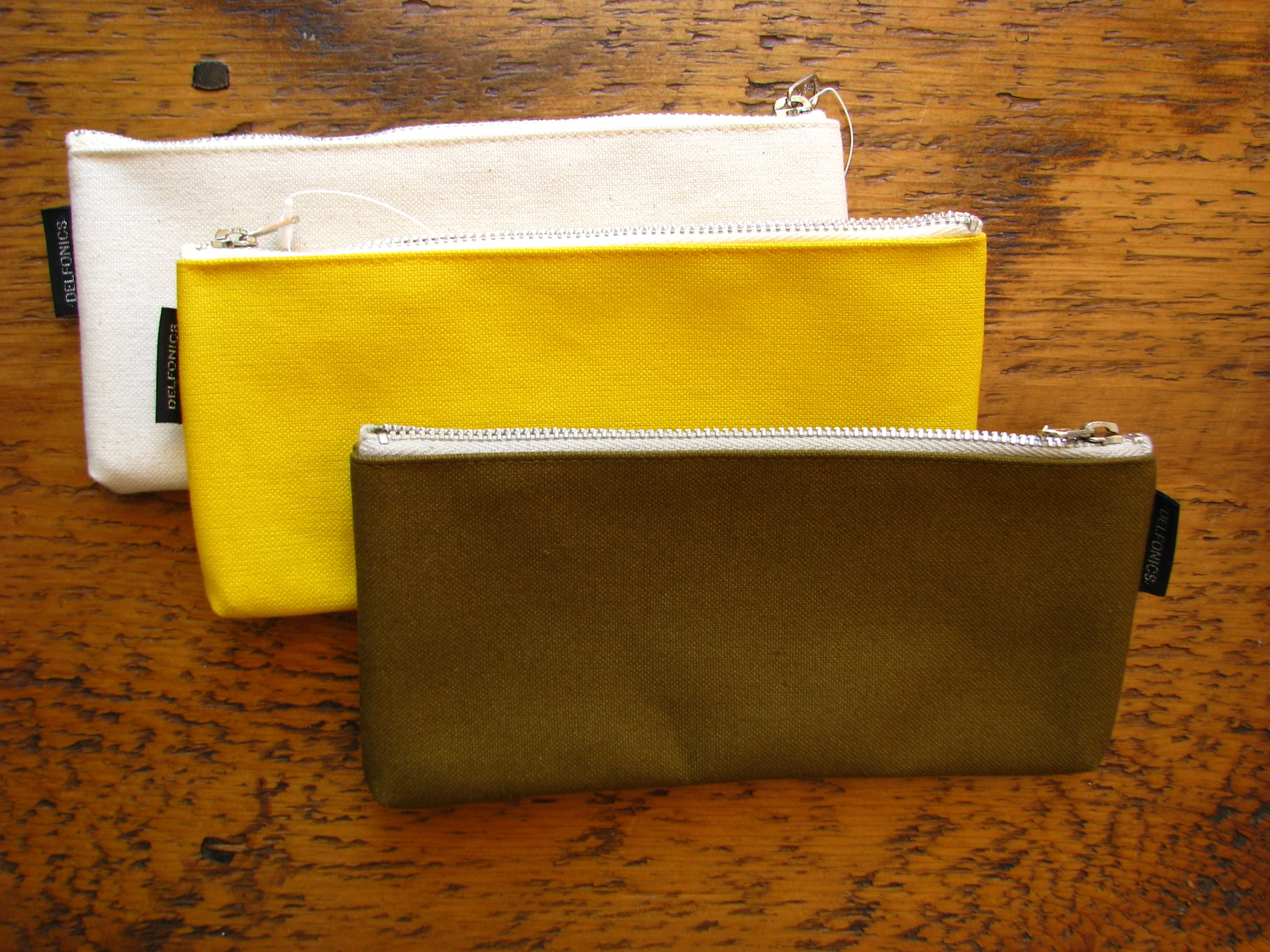 Delfonics Flat Pen Cases in Khaki, Yellow and Natural White