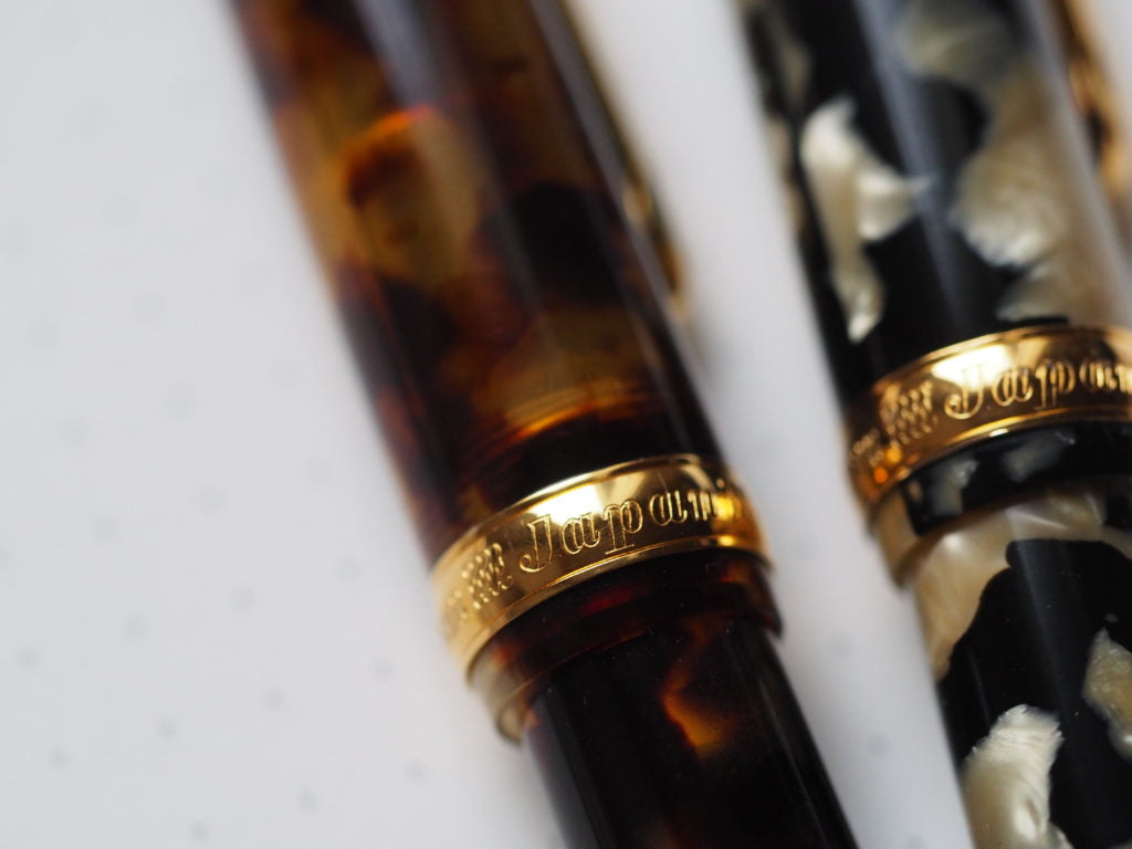 Platinum 3667 Celluloid Tortoise Calico Platinum 3776 Writing Sample Broad Canada