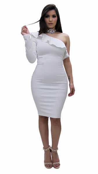 Ruffle One Sleeve Dress -White