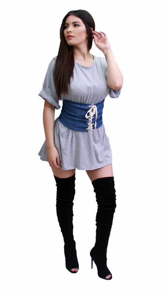 Lace Up Waist Corset Belt - Denim