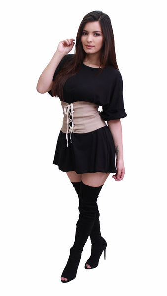 Lace Up Waist Corset Belt - Mocha