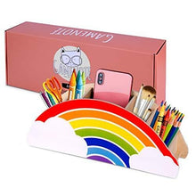 Load image into Gallery viewer, Gamenote Wooden Pen Holder & Pencil Holders - Rainbow Supply Caddy Phone Holder Desk Organizer for Office Supplies Makeup Brush Classroom Organization for Women & Kids