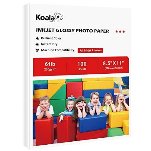 Koala Heavyweight Photo Paper High Glossy 8.5x11 Inches for Inkjet Printing 100 Sheets 61LB