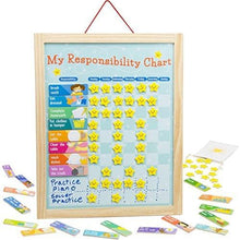 Load image into Gallery viewer, Imagination Generation My Responsibility Chart, Magnetic Dry Erase Wooden Chore Chart with Storage Bag, 24 Goals and 56 Reward Stars