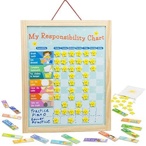 Imagination Generation My Responsibility Chart, Magnetic Dry Erase Wooden Chore Chart with Storage Bag, 24 Goals and 56 Reward Stars