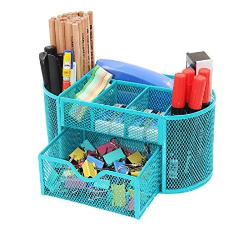 PAG Office Supplies Mesh Desk Organizer Pencil Holder Pen Cup Accessories Storage Caddy with Drawer for Women and Girls, 9 Compartments, Blue