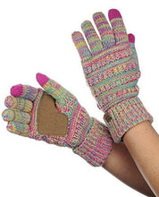 Load image into Gallery viewer, C.C Unisex Cable Knit Winter Warm Anti-Slip Touchscreen Texting Gloves, Bright Mix