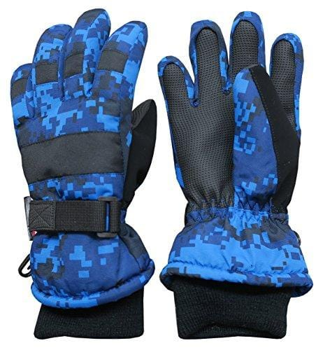 N'Ice Caps Kids Cold Weather Waterproof Camo Print Thinsulate Ski Gloves (Blue Digital Camo, 10-12 Years)