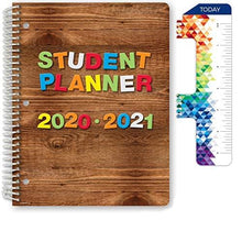 "Load image into Gallery viewer, Dated Elementary Student Planner for Academic Year 2020-2021 (Block Style - 8.5""x11"" - Wood Letters Cover) - Ruler/Bookmark and Planning Stickers"
