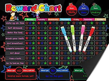 Load image into Gallery viewer, Magnetic Behavior Rewards Chalkboard Child Behavior Reward Chore Chart-Daily Household Chore Checklist– Multiple Kids Chore Chart System Includes: 4 Liquid Chalk Markers
