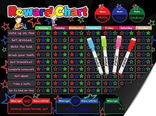 Magnetic Behavior Rewards Chalkboard Child Behavior Reward Chore Chart-Daily Household Chore Checklist– Multiple Kids Chore Chart System Includes: 4 Liquid Chalk Markers