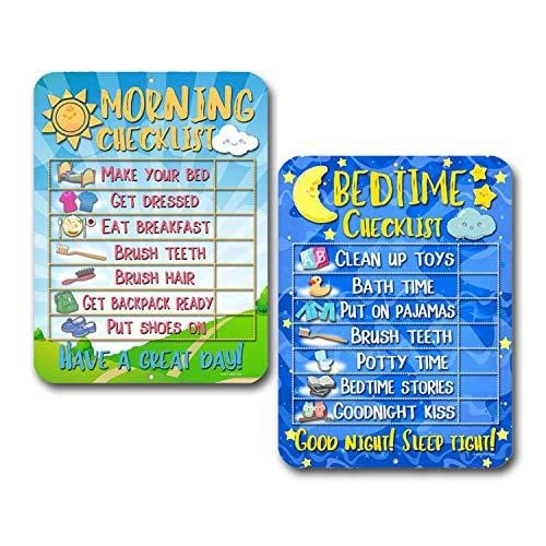 Honey Dew Gifts Daily Morning and Bedtime Routine Reward Chart (Set of 2) for Kids and Autism - Tin Learning Calendar for Kids, Teaching Tool