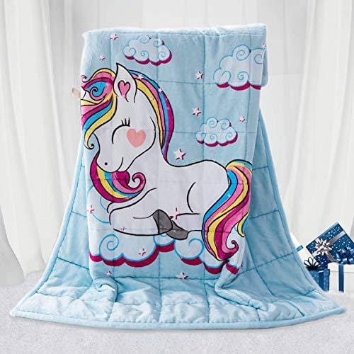 BUZIO Kids Weighted Blanket 5lbs, Unicorn Fleece Blanket for Kids with 4 Color Options, Ultra Soft and Cozy Heavy Blanket, Great for Calming and Sleep 36 x 48inch