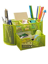 Load image into Gallery viewer, Space Saving Desk Tidy Multi-functional Metal Wire Mesh 9 Compartment Office / School Supply Desktop Organizer Caddy W/ Large Drawer (Green)