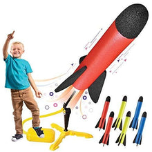 Load image into Gallery viewer, Toy Rocket Launcher for kids – Shoots Up to 100 Feet – 8 Colorful Foam Rockets and Sturdy Launcher Stand With Foot Launch Pad - Fun Outdoor Toy for Kids - Gift Toys for Boys and Girls Age 3+ Years Old