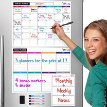 Load image into Gallery viewer, STYLIO Dry Erase Calendar Whiteboard. Set of 3 Magnetic Calendars for Refrigerator: Monthly, Weekly Organizer & Daily Notepad. Wall & Fridge Family Calendar. 4 Fine Point Markers & Eraser Included