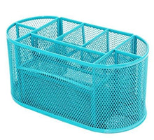 Load image into Gallery viewer, PAG Office Supplies Mesh Desk Organizer Pencil Holder Pen Cup Accessories Storage Caddy with Drawer for Women and Girls, 9 Compartments, Blue