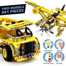 Load image into Gallery viewer, STEM Toys Building Sets for Boys 8-12 - 361 Pcs Construction Engineering Kit Builds Dump Truck or Airplane (2in1) STEM Building Toys Set for Kids - Ages 6 7 8 9 10 11 12 Years Old, Boy Toys Gift