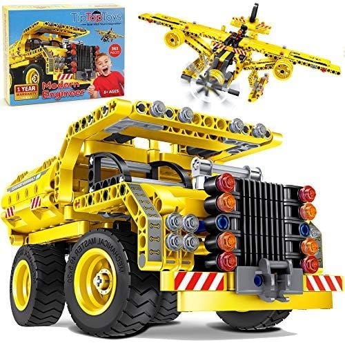STEM Toys Building Sets for Boys 8-12 - 361 Pcs Construction Engineering Kit Builds Dump Truck or Airplane (2in1) STEM Building Toys Set for Kids - Ages 6 7 8 9 10 11 12 Years Old, Boy Toys Gift