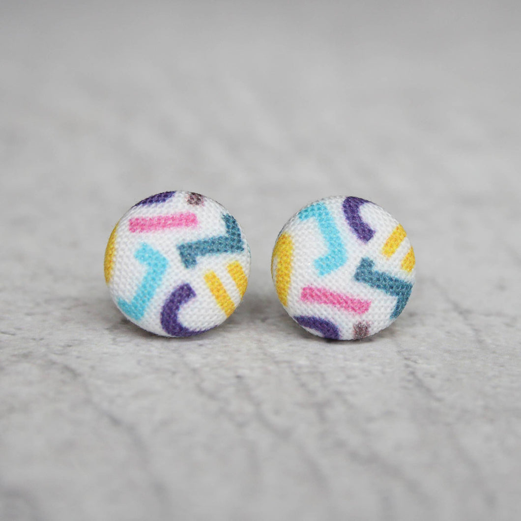 Fantastic 90s Print Fabric Button Earrings