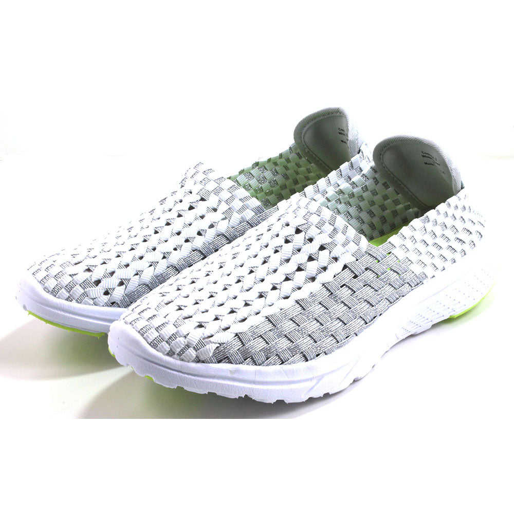 Heavenly Feet woven textile sports shoes in white and silver