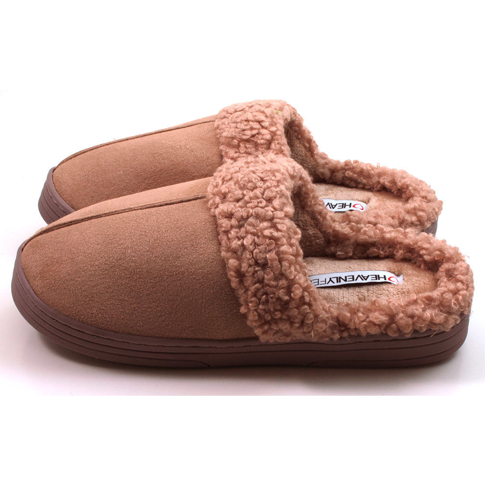 Heavenly Feet beige mule style slippers