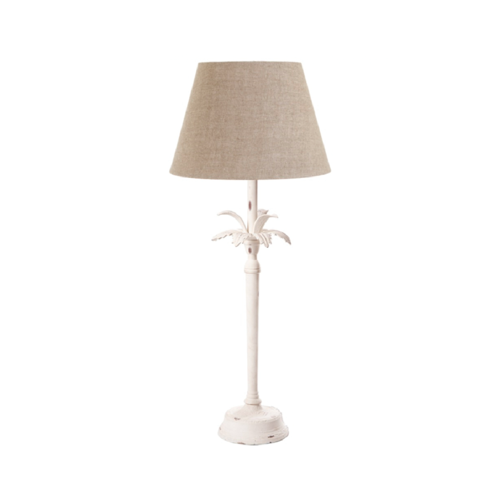 White Casablanca Palm - Table Lamp+Shade