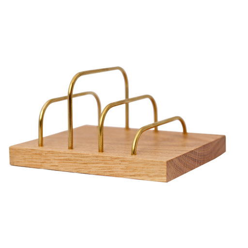 BRASS-DOCK Ipad/Brevholder – Egetræ/Messing | HemmingsenInteriør