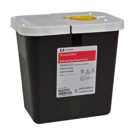 Covidien™ 2 Gallon Black RCRA Waste Container SharpSafety™ Hinged Lid