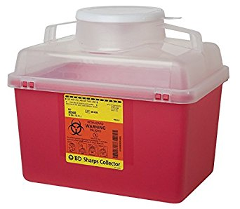 BD™ 14 Quart Red Multi-purpose Sharps Container 1-Piece Funnel Lid