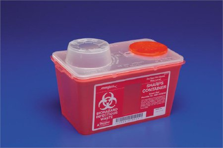 Covidien™ 14 Quart Red Multi-purpose Sharps Container Monoject™ 1-Piece Vertical Drop Chimney