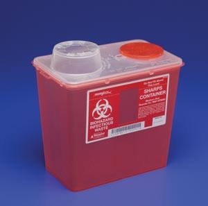 Covidien™ 2 Gallon Red Multi-purpose Sharps Container Monoject™ 1-Piece Vertical Drop Chimney