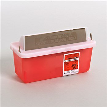 Covidien™ 2 Quart Red Multi-purpose Sharps Container In-Room™ 1-Piece Horizontal Entry Lid