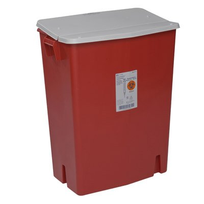 Covidien™ 30 Gallon Red Perfusion Waste Container SharpSafety™ Nestable Gasketed Hinged Lid