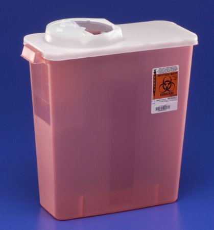 Covidien™ 3 Gallon Red Multi-purpose Sharps Container SharpSafety™ 1-Piece Hinged, Rotor Lid