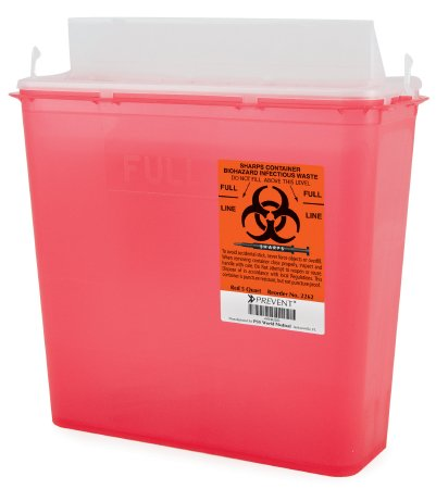 McKesson™ 5 Quart Red Sharps Container Prevent® 2-Piece Horizontal Entry Lid