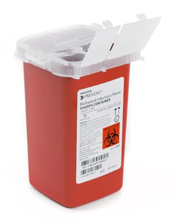 Sharps Container McKesson Prevent® 6.25 H X 4.25 W X 4.25 D Inch 1 Quart Red Base