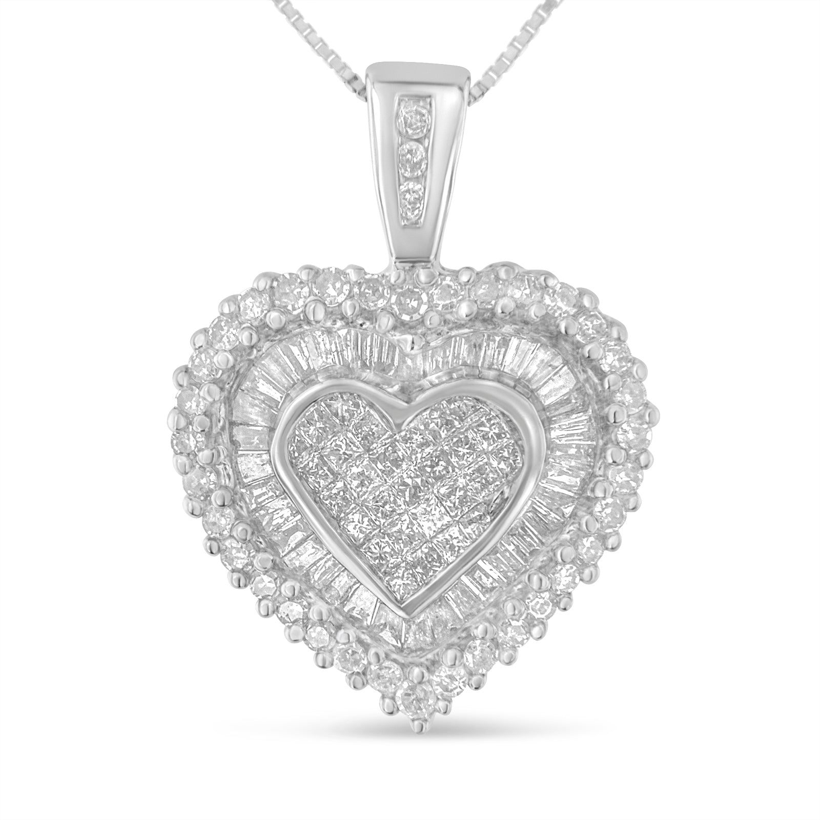 Multi-Cut Diamond Heart Pendant Necklace