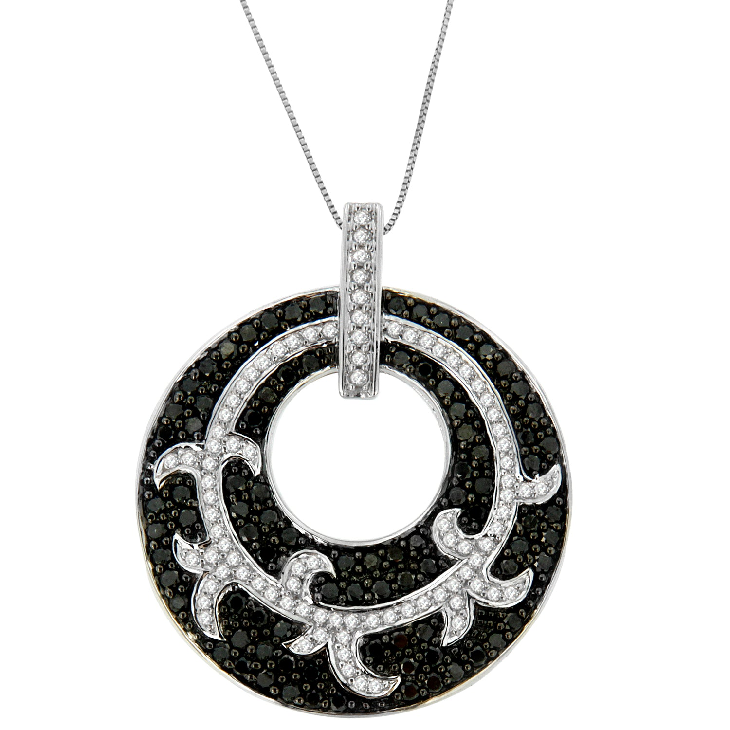Black Diamond Medallion Circle Pendant Necklace