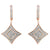 Rose Gold Plated Sterling Silver Round-Cut Diamond Cushion Dangle Earrings